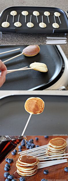 Pancake Pops - bite-sized pancakes on a stick. Dip them in maple syrup and have a little breakfast party. Fun idea