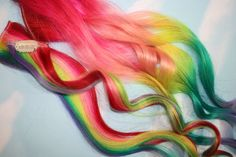 Rainbow Human Hair Extensions. Colored Hair Extension Clip, Hair Wefts, Clip in Hair, Tie Dye Hair Extensions, Dip Dyed Hair. $60.00, via Etsy.