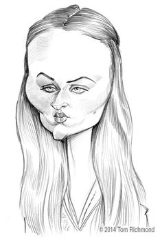 """This week's """"Game of Thrones"""" SotW subject is Sophie Turner, who plays the morose Sansa Stark. Next week will be the last of my """"Game of Thrones"""" series, as the season… Funny Pictures Of Women, Crazy Funny Pictures, Tom Holland, Painting Corner, Drawing Stars, Black And White Cartoon, Sketches Tutorial, Caricature Drawing, Celebrity Caricatures"""