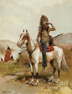 A Sioux Indian Chief Painting by Frank Feller