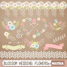 "Wedding clipart set: ""WEDDING FLOWERS CLIPART"" with flower heart clip art, flower clip art, ribbon clipart, laurel clipart, lace clipart"