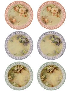 Fine china plate printables - these would be beautiful to decoupage on very thin clay plates for fairies or dollhouse  ********************************************   Lilac & Lavende #dollhouse #miniature #fairy #garden #china #plates