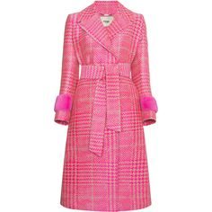 Fendi Houndstooth double breasted coat with mink cuff ($6,855) ❤ liked on Polyvore featuring outerwear, coats, fendi coat, hounds tooth coat, houndstooth coat, mink coat and pink mink coat