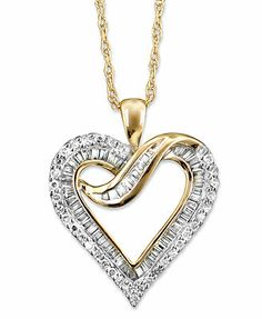 Diamond Necklace, 14k Gold Diamond Heart (1/2 ct. t.w.)
