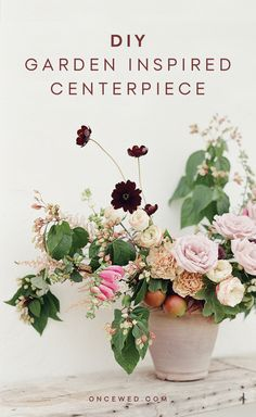 Whether you're planning to tackle your own floral centerpieces or just a couple of gorgeous arrangements at your ceremony or guest book table, this beautiful DIY garden inspired centerpiece tutorial will have you whipping up stunning floral arrangements in no time. #DIYweddingflorals #diyweddingcenterpiece #weddingflorals #diyweddingtutorials