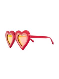 Yazbukey | Red heart shaped sunglasses - Featuring orange tinted lenses. 100% acetate. Heart Shaped Frame, Heart Shaped Sunglasses, Color Naranja, Textures Patterns, Protective Cases, Heart Shapes, Personal Style, Jewels, Eyewear