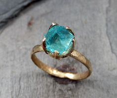Raw Uncut Apatite Neon Blue Rough 14k yellow gold Gemstone Cocktail statement or Stacking Ring Recycled Gold