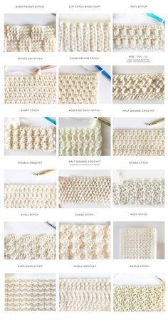 40 free crochet stitches from Daisy Farm Crafts - Salvabrani .- 40 kostenlose Häkelstiche von Daisy Farm Crafts – Salvabrani gestrickt ideen 40 free crochet stitches from Daisy Farm Crafts – Salvabrani, - Crochet Stitches Patterns, Knitting Stitches, Stitch Patterns, Knitting Patterns, Free Knitting, Amigurumi Patterns, Embroidery Stitches, Different Crochet Stitches, Ribbon Embroidery