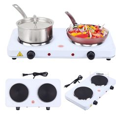 Portable Electric Double Burner Hot Plate Cooking Stove Kitchen Camping for sale online Cook N, Cooking Stove, Electric Stove, Ceramic Coating, Cookware Set, Food Storage Containers, Kitchen Appliances, Plates, Snacks