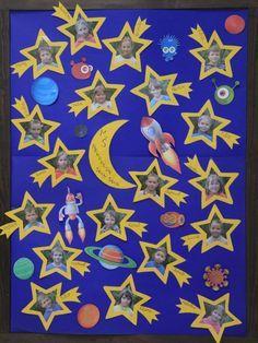 tablo predškolákov ile ilgili görsel sonucu Space Classroom, Classroom Door, School Classroom, Preschool Rooms, Preschool Art Activities, Galaxy Projects, Birthday Bulletin Boards, Moon Crafts, Galaxy Theme
