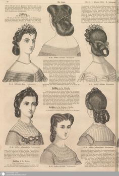 – Der Bazar – Page – Digitale Sammlungen – Digital Collections - Bkn Medya Vintage Hairstyles Tutorial, Retro Hairstyles, Historical Costume, Historical Clothing, Historical Hairstyles, Vintage Outfits, Vintage Fashion, Victorian Hairstyles, Natural Hair Styles