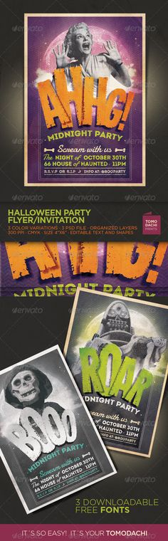 "Halloween Flyer / Invitation - Events Flyers HALLOWEEN Party Flyer/Invitation · 3 different color combinations. · Print ready at 300dpi CMYK , size 4""x6"" with 0.25 inch bleed. · 3 psds for version of Photoshop CS4 or higher. Three free downloadable fonts:"