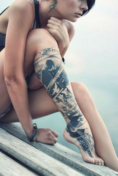 The legs are perfect places to adorn with large tattoo designs. They are one of the most attractive parts of woman body and you can boost your femininity with a talentedly inked leg sleeve tattoo. Whether you choose full or half sleeve tattoos, you can portray your style and imagination on this larg…