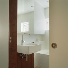 Project Architect Paul Owen { Whilst at Owen and Vokes and Peters } RAIA Robin Dods Award for Residential Buildings. Camden House, Timber Panelling, Downstairs Loo, Art Deco Home, Basin, Bathrooms, Interior Design, Architecture, Building
