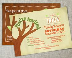 Family reunion invitation // Family gathering by peartreespace, $15.00 Family tree inspired invitation. Bold, retro style