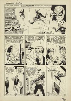 Spider-manPage from AMAZING FANTASY by Steve Ditko. You can see in the final panel that there was a police car on the ground in the pencils that was eliminated in the inks. Original Spiderman Comic, Amazing Spiderman, Marvel Comic Books, Comic Books Art, Comic Book Artists, Comic Artist, Spiderman Drawing, Amazing Fantasy 15, Steve Ditko