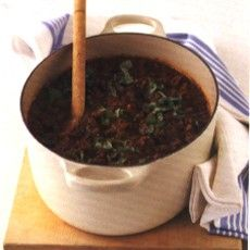 Delia Smith's spagbol using pancetta and chicken liver as extra meat ingredients