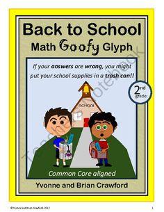 Back to School Math Goofy Glyph (2nd grade Common Core) $