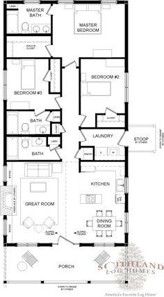 Bungalow - Log Home Plan | Southland Log Homes. This is the closest I could find to what we would want. But only two bathrooms not three. With the cellar entrance in one of the bathrooms shown as just a pantry