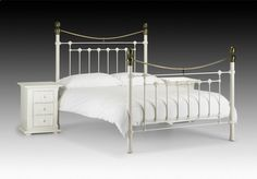 0d9d5e3f6bf3 Details about VICTORIA METAL BED FRAME IN STONE WHITE & BRASS SINGLE DOUBLE  KINGSIZE