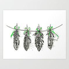 Feather Bunting. Green Ribbon by Himadri Pachori