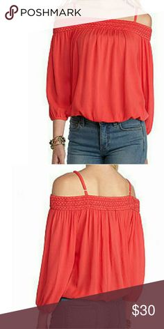 """Off the Shoulder Cold Shoulder Top M NWT Off the Shoulder Neckline and Cold Shoulder Long Sleeves w/ Adjustable Spaghetti Straps Polyester / Rayon Approximately 23""""L Color: Coral Size: M Amy Byer Tops Blouses"""
