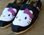 Hello Kitty and Crystals Custom TOMS Shoes without crystals
