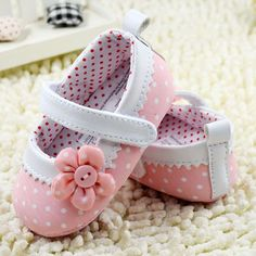 Infant Girls Dot Flower Baby Shoes Soft Sole Toddler PU Leather Crib Shoes 0-18M #Unbranded #CribShoes