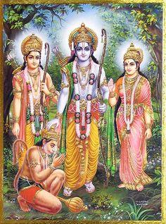 Rama, Sita, Lakshmana and Hanuman - Hindu Posters (Reprint on Paper - Unframed) Shri Ram Wallpaper, Mobile Wallpaper, Rama Lord, Lord Rama Images, Rama Sita, Hanuman Chalisa, Durga Maa, Yashoda Krishna, Sri Rama