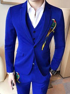 Embroidery Three Piece Solid Color Men& Dress Suit is part of Dress suits for men - Mens 3 Piece Suits, Dress Suits For Men, Mens Suits, Men Dress, Royal Blue Suit, Blue Suit Men, Black Suits, Black Suit Wedding, Wedding Dress Men