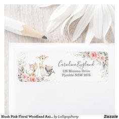 Blush Pink Floral Woodland Animals Return Address Label 1st Birthday Parties, Boy Birthday, Pink And Gold, Blush Pink, Holiday Cards, Christmas Cards, Lollipop Party, Return Address Labels, Woodland Animals