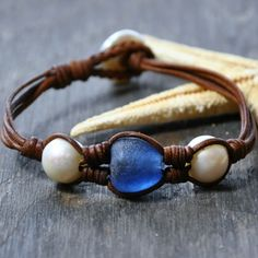 African Recycled Glass, Freshwater Pearls, Cut and Rolled by Hand Leather