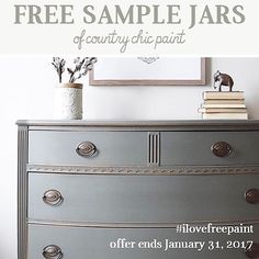 Have you had a chance to try Country Chic Paint yet? Here's your chance to try our fabulous furniture paint for FREE!! From now until January 31st, 2017 you can sign up to receive one free 4 oz. jar of Country Chic Paint in store! Sign up by going to http://www.countrychicpaint.com/pages/free-samples to receive a unique code so you can get yours today!
