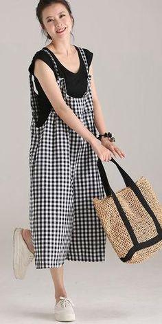 2fe5c74531cb PLUS SIZE BLACK PLAID COTTON LINEN OVERALLS WOMEN LOOSE JUMPSUIT K5112  Simple Dresses