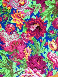 Philip Jacobs Floral Burst, cobalt, out of print, rare, vhtf.  Gorgeous quilting weight cotton from the Kaffe Fassett collective, early