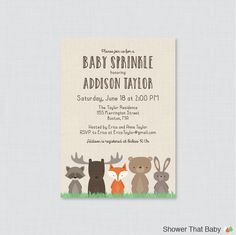 Woodland Baby Sprinkle Invitation Printable - Woodland Baby Sprinkle Invites with Fox, Moose, Rabbit, Raccoon, Bear - 0010 by ShowerThatBaby on Etsy https://www.etsy.com/listing/400221481/woodland-baby-sprinkle-invitation