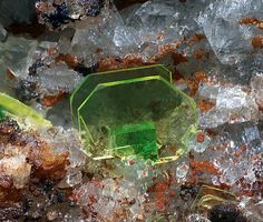 Uranospinite, Torbernite Locality:Montoso Quarries, Ortieul, Bagnolo Piemonte, Cuneo Province, Piedmont, ItalyCollection and Photo Bruno Marello