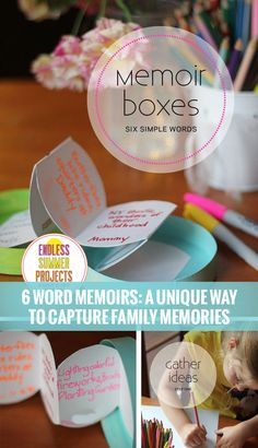 Collect family memories in just six words through these precious memoir boxes. An easy way to get everyone 2-102 involved. #endlesssummerprojects