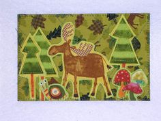 cute woodland creatures fabric postcard