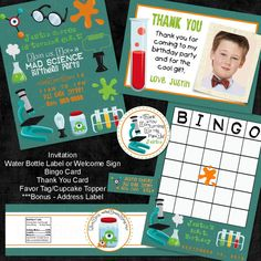 Mad Science Birthday  Printable Party Package  5 by PhotoGreetings, $50.00