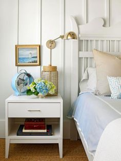 Cool coastal colors create a relaxing color scheme in this cottage bedroom. Tour the rest of this home: http://www.bhg.com/decorating/decorating-style/cottage/a-colorful-coastal-cottage/?socsrc=bhgpin050413coastalbedroom=6