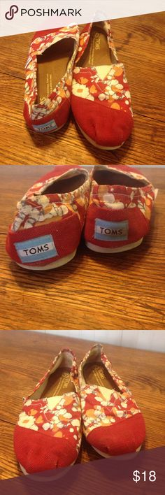 TOMS red abstract design. Size 8 TOMS red abstract design. Size 8. These have been worn and show signs of wear but are still wearable and super cute. Make an offer Toms Shoes Flats & Loafers