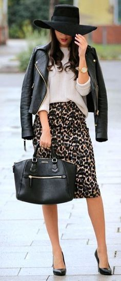 what to wear with a hat : bag + biker jacket + pencil skirt + top + heels