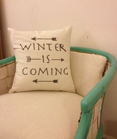 """Winter Is Coming, Quote Pillow, Arrow Decor, Decorative Throw Pillow, Game of Thrones, House Stark, Typography, 20"""" x 20"""" pillow"""