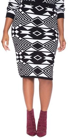 8d203ee0007 Plus Size Jacquard Pencil Skirt Curvy Fashion
