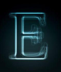 E in lights: Composed of thousands of E-letters, rendered in a bright neon light  Read more: http://www.brainpickings.org/index.php/2010/11/17/alphabets/#ixzz1Cxcbffg2