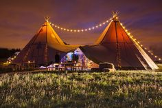 Festoon lighting over two giant hat tipis by sami tipi Image by Christopher Terry Forest Wedding, Boho Wedding, Dream Wedding, Wedding Bells, Wedding Ceremony, Wedding Venues, Tipi Wedding Inspiration, Wedding Ideas, Wedding Stuff