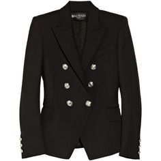 Balmain Double-breasted wool-blend blazer ($2,038) via Polyvore
