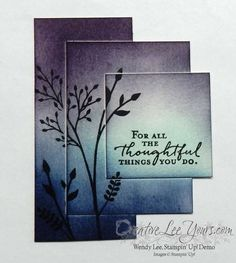 Offset Triple Stamping by Wendy Lee, Stampin Up, technique, burnishing, #creativeleeyours, Jar of Love stamp set, Floral Phrases stamp set, Watercolor Wishes stamp set, #onstage2016,#InternationalProjectHighlights, hand stamped thank you card