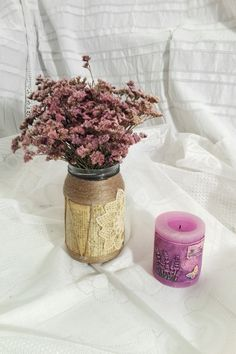 Handmade:  A vintage deco jar with paper and rope. 50 lei 12 euro piece Just one piece. https://www.facebook.com/homemaderulescluj